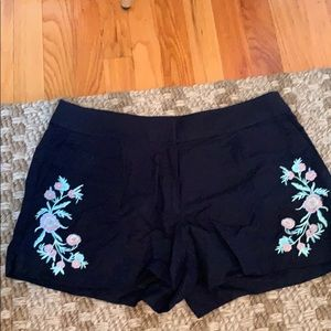 Navy embroidered shorts